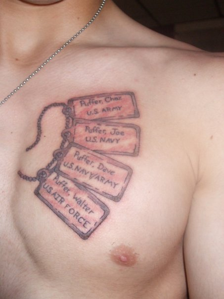 Military Dog Tags Tattoo On Chest