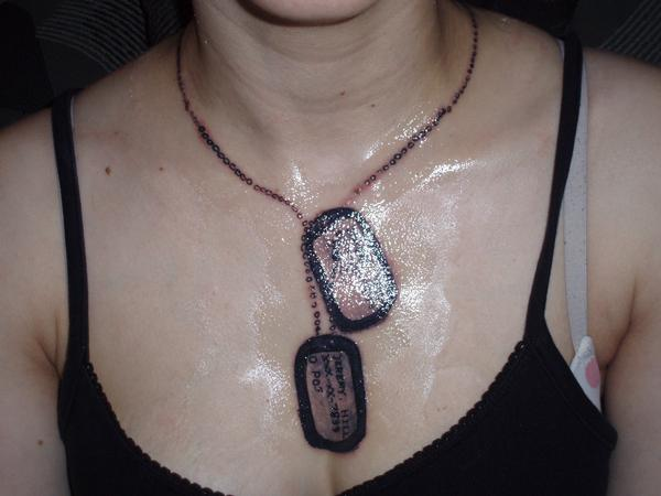 Military Dog Tags Tattoo On Chest For Women