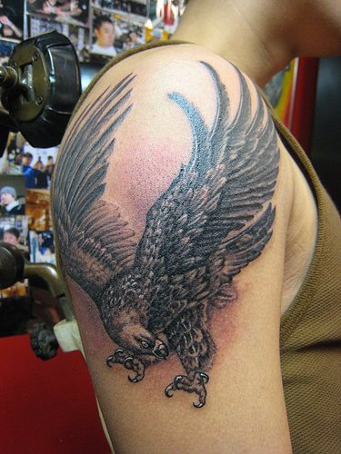Military Eagle Tattoo On Shoulder