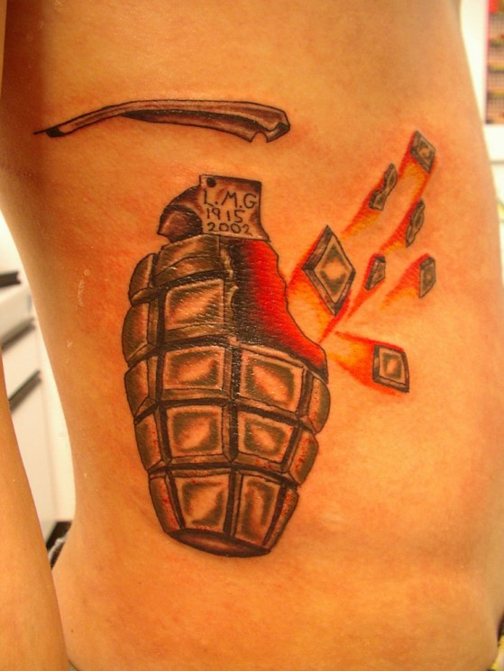 Military Grenade Tattoo On Side