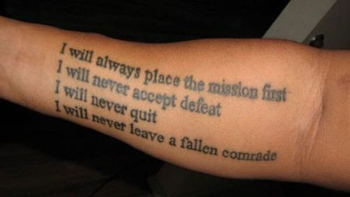 Military Lettering Tattoo Designs On Arm