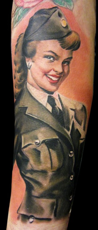 Military Pin Up Girl Tattoo Designs