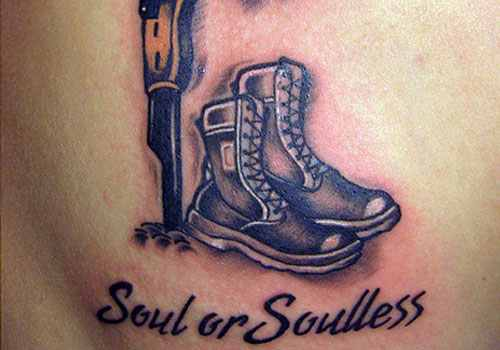 Military Rifle And Boot Tattoo Design