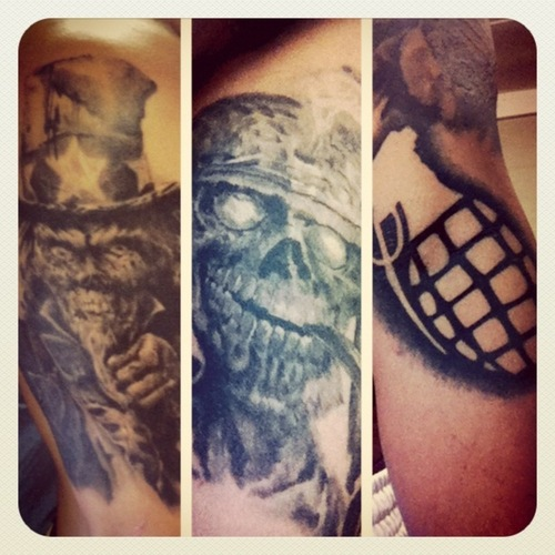 Military Skull And Grenade Tattoo Designs