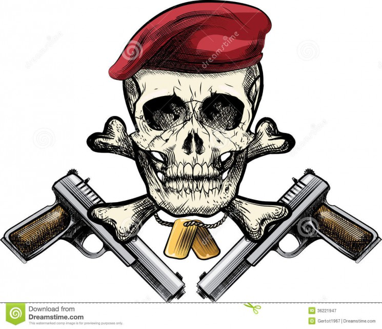 Military Skull In Beret With The Crossed Rifles Tattoo Designs