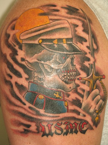 Military Skull Soldier Holding Dagger Tattoo