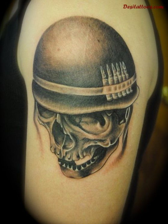 Military Skull Tattoo For Biceps