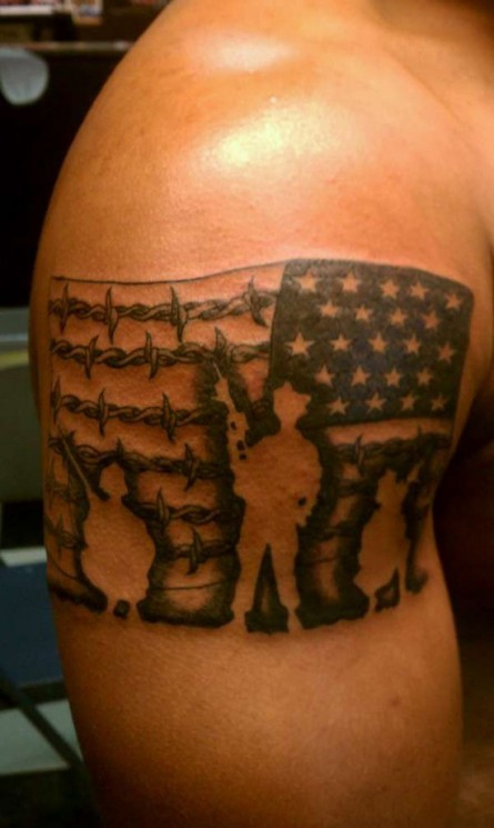 Military Soldiers With US Flag Tattoo