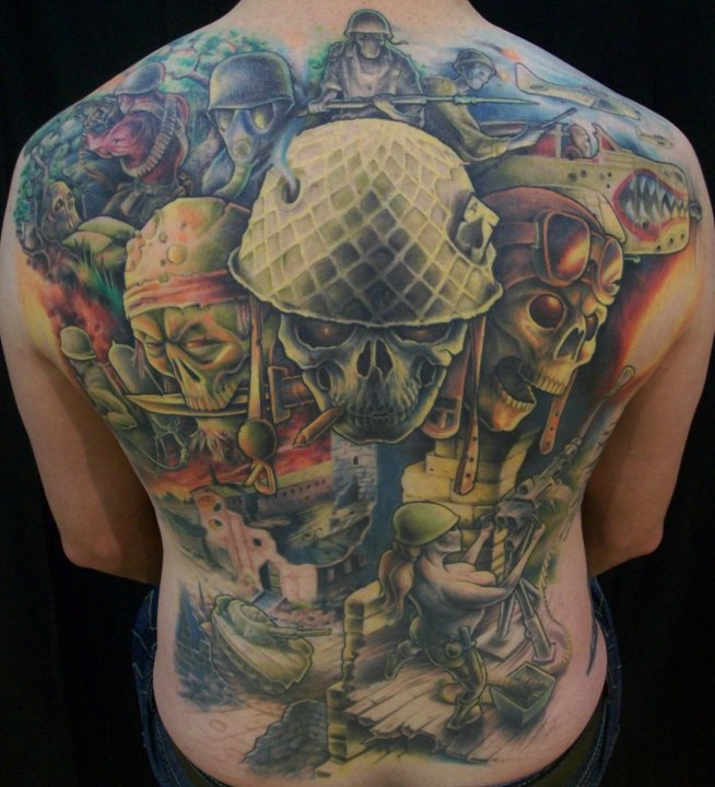 Military Tattoo Designs On Back Body For Men