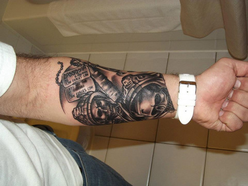 Military Tattoo On Lower Arm