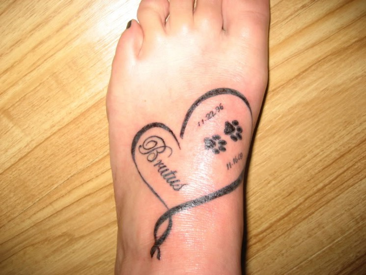 Miniature Paw Print Tattoos On Foot Specially For Girls