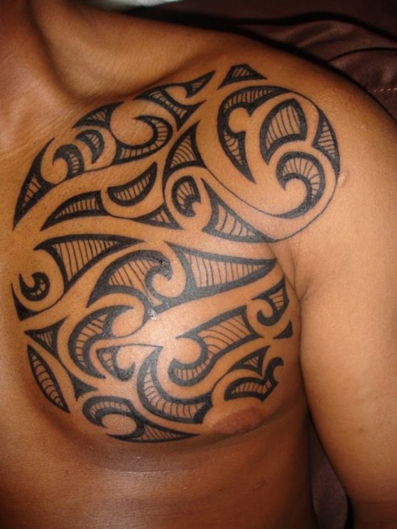 Modern Tribal Chest And Muscles Tattoos