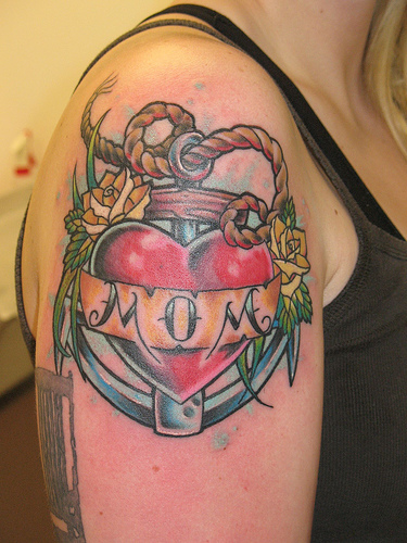 Mom Banner Heart Tattoo On Hand