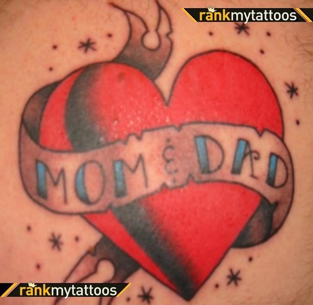 Mom Dad Heart Tattoo On Muscles