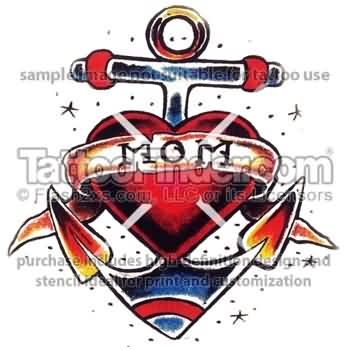 Mom Heart Anchor Tattoo Preview