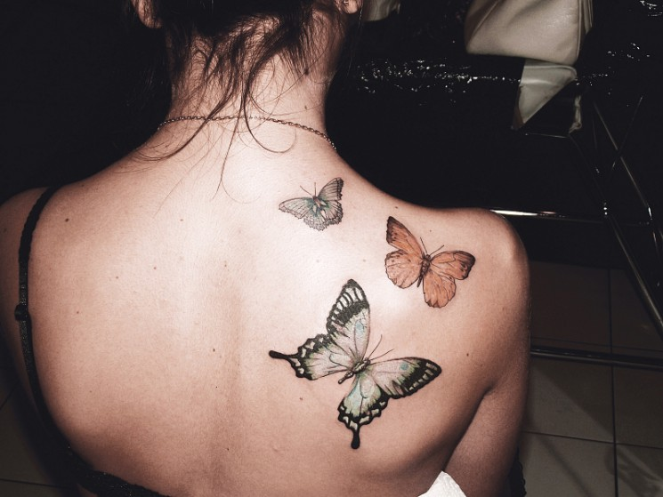 Monarch Butterfly Tattoo On Back Shoulder