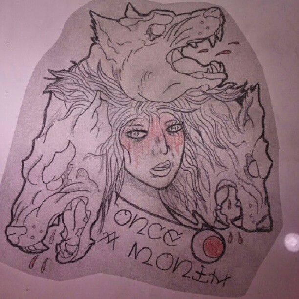 Moon And Lady Tattoos Flash