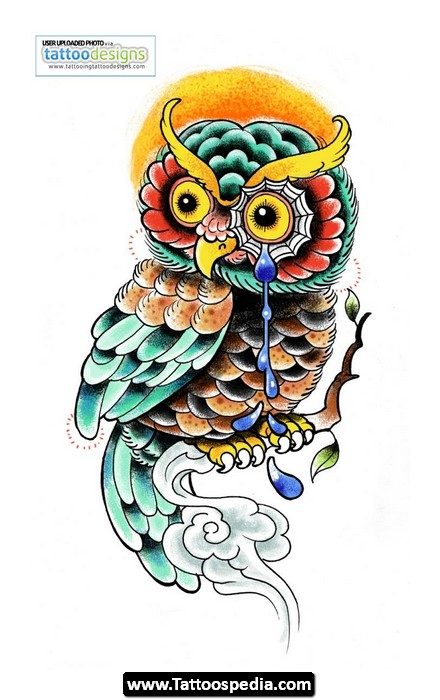 Moon And Outline Owl Tattoos