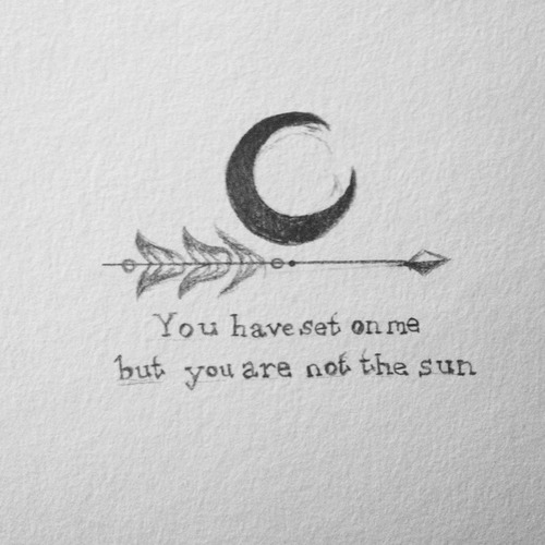 Moon Arrow And Lettering Tattoo Designs