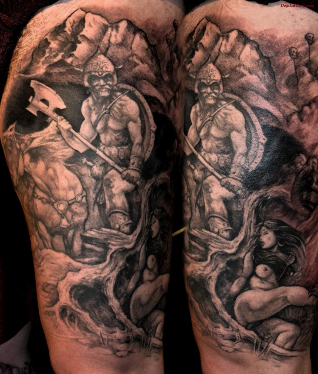 Moon Wolf And Ancient Ship Tattoos On Biceps