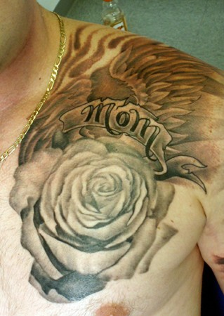 Mother Cross Banner Tattoo Image