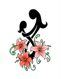 Mother Daughter Knot And Flowers Tattoos
