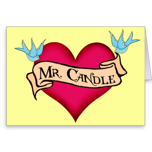 Mr. Candle Banner Heart Tattoo Design