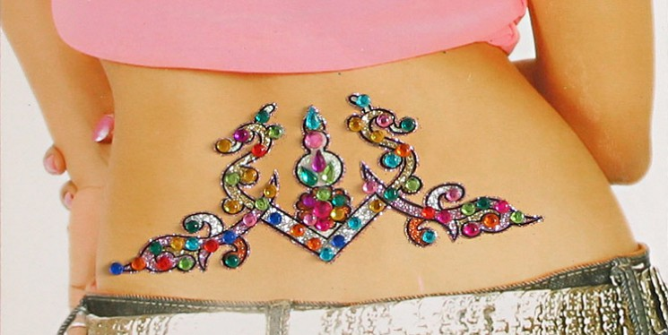 Multicolor Glitter And Stone Studded Waist Tattoo For Girls