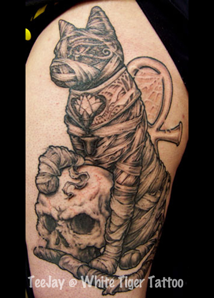 Mummy Cat With Skull Tattoo On Biceps
