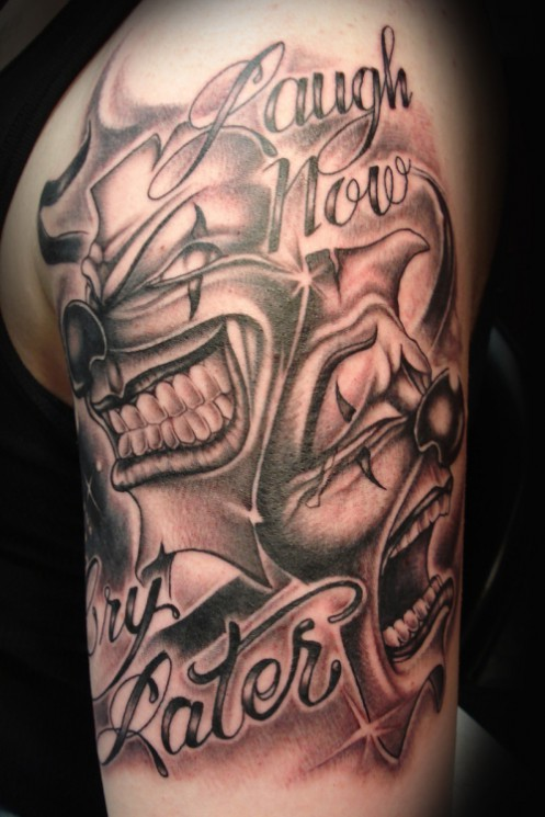 Music And Drama Masks Tattoos For Men