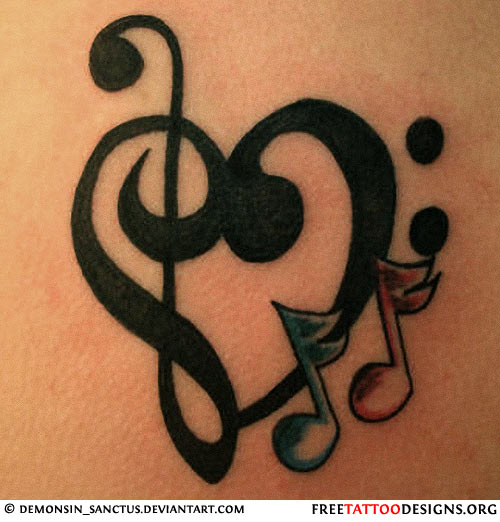Music And Heart Tattoos
