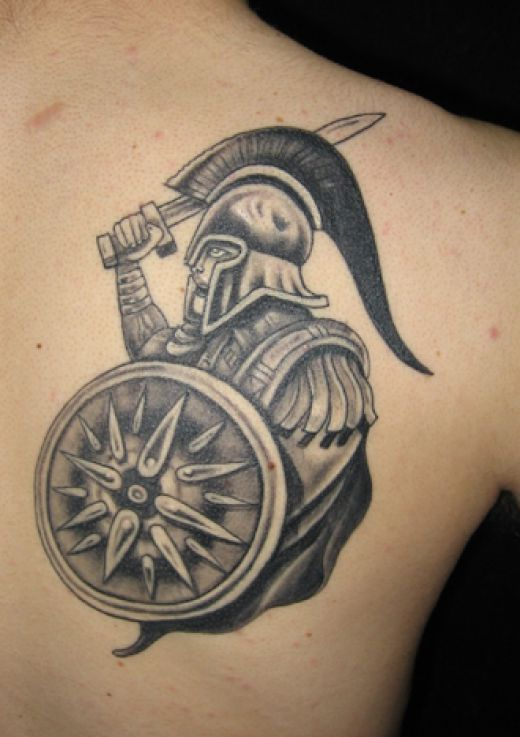 Mythological Warrior Tattoo On Biceps
