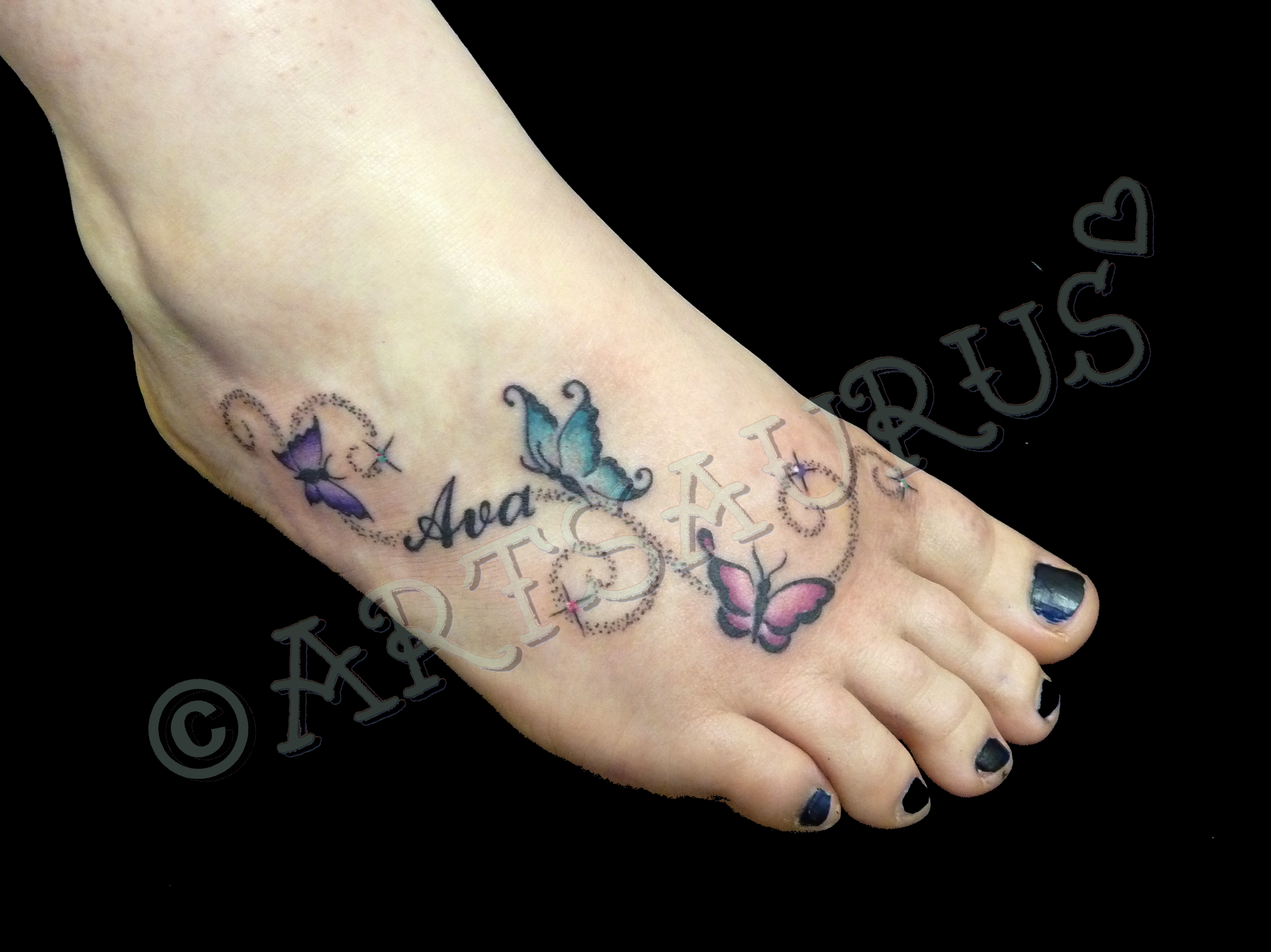 Star And Name Tattoo Designs With Regard To Tattoos On Foot In 2017