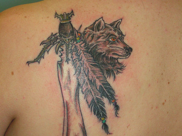 Native American Feathers Sword And Fox Tattoos