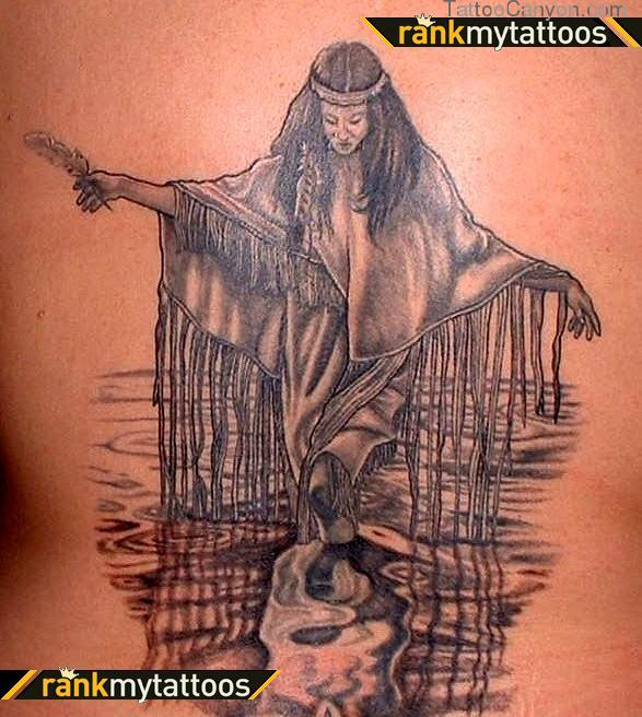 Native American Horned Lady Tattoo On Back
