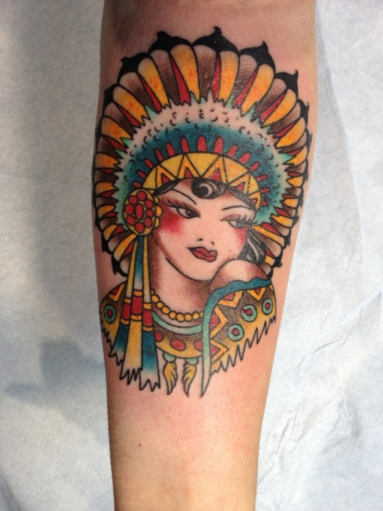 Native American Princess Tattoo On Forearm