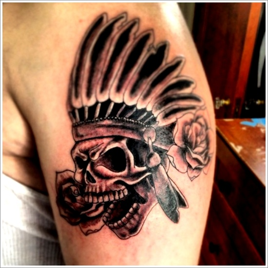 Native American Skull Tattoo With Roses On Arm