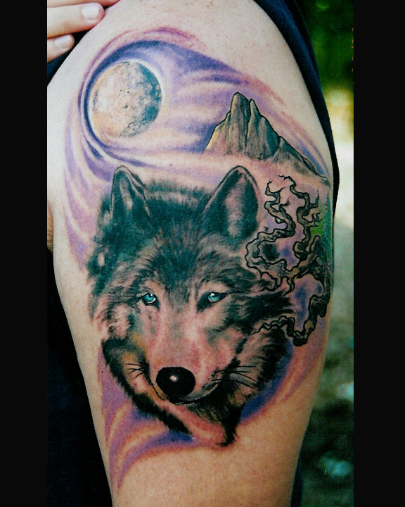 Native American Symbolic Tattoo with a wolf and tree