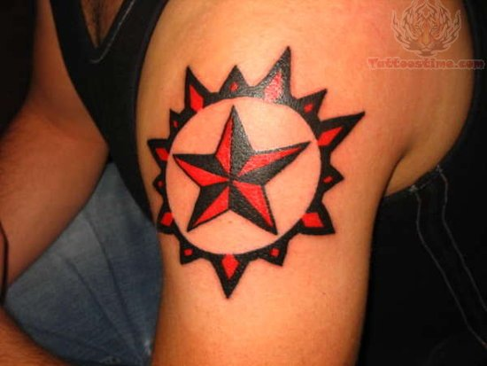 Nautical Star And Firefigher Helmet Tattoos On Biceps