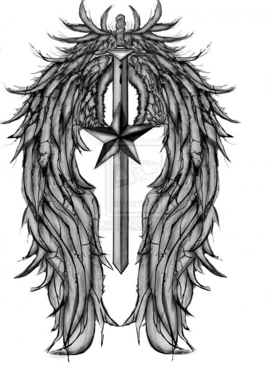 Nautical Star Sword With Wings Tattoo Design