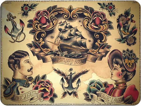 Nautical Traditional Tattoos Sheet