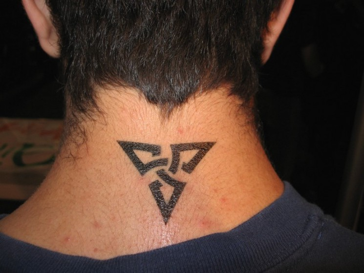 Neck Tattoo Of Tribal