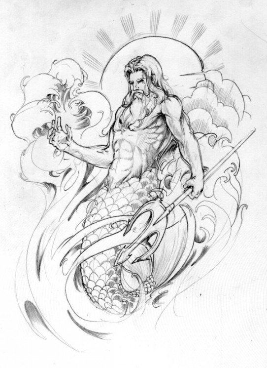 Neptune And Medusa Sleeve Tattoo Designs