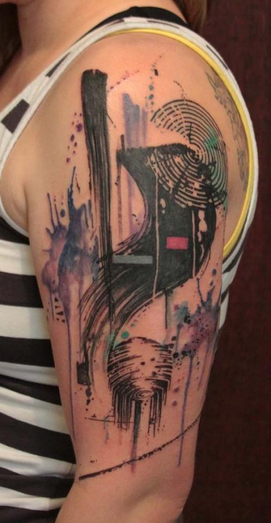 New Blue Abstract Shark Tattoo On Shoulder
