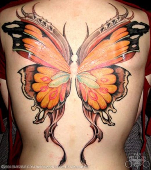 New Colorful 3D Butterfly Tattoo On Whole Foot
