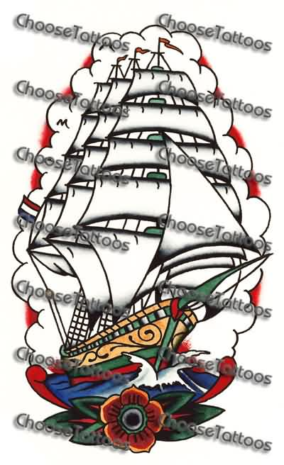 New Colorful Ship And Flower Tattoo Design