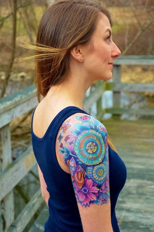 New Colorful Shoulder Tattoos