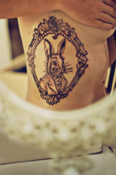 New Cute Rabbit Tattoo On Chest For Women