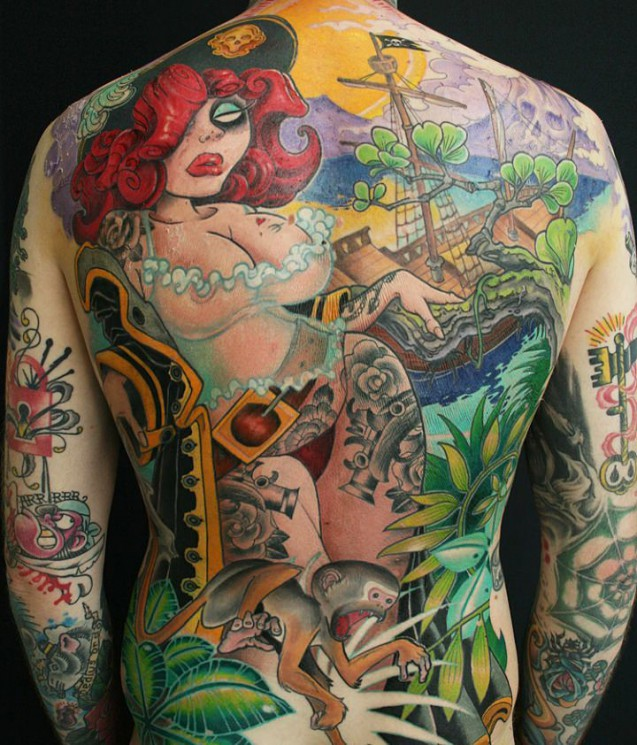 New Ink Pirate Pinup Tattoo