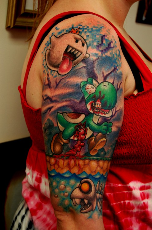 New Jumping Mario Tattoo On Lowerbelly